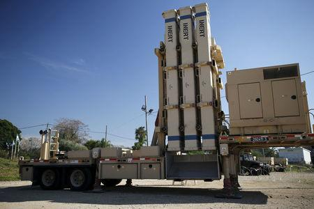 FILE PHOTO: An inactive version of Israel's air defense system, David's Sling, jointly developed with the United States, is seen at a media event during a joint exercise at Hatzor air base near Tel Aviv