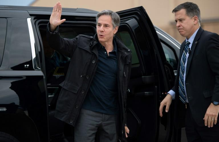 US Secretary of State Antony Blinken is seen on May 16, 2021, leaving from Andrews Air Force Base near Washington on a trip to focus on the future of the Arctic -- and on US ties to Russia and China