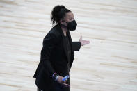 South Carolina head coach Dawn Staley reacts to a call during the first half of a college basketball game against Oregon State in the second round of the women's NCAA tournament at the Alamodome in San Antonio, Tuesday, March 23, 2021. (AP Photo/Eric Gay)