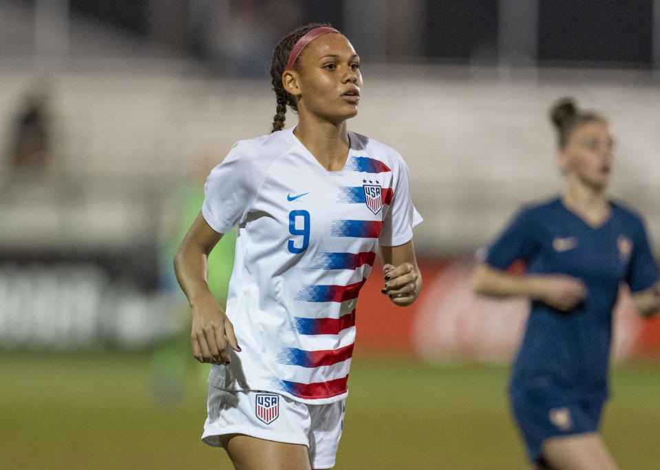 Trinity Rodman, pictured playing for the U.S. U-20 national team, was selected second overall in the 2021 NWSL draft. (Brad Smith/ISI Photos/Getty Images)
