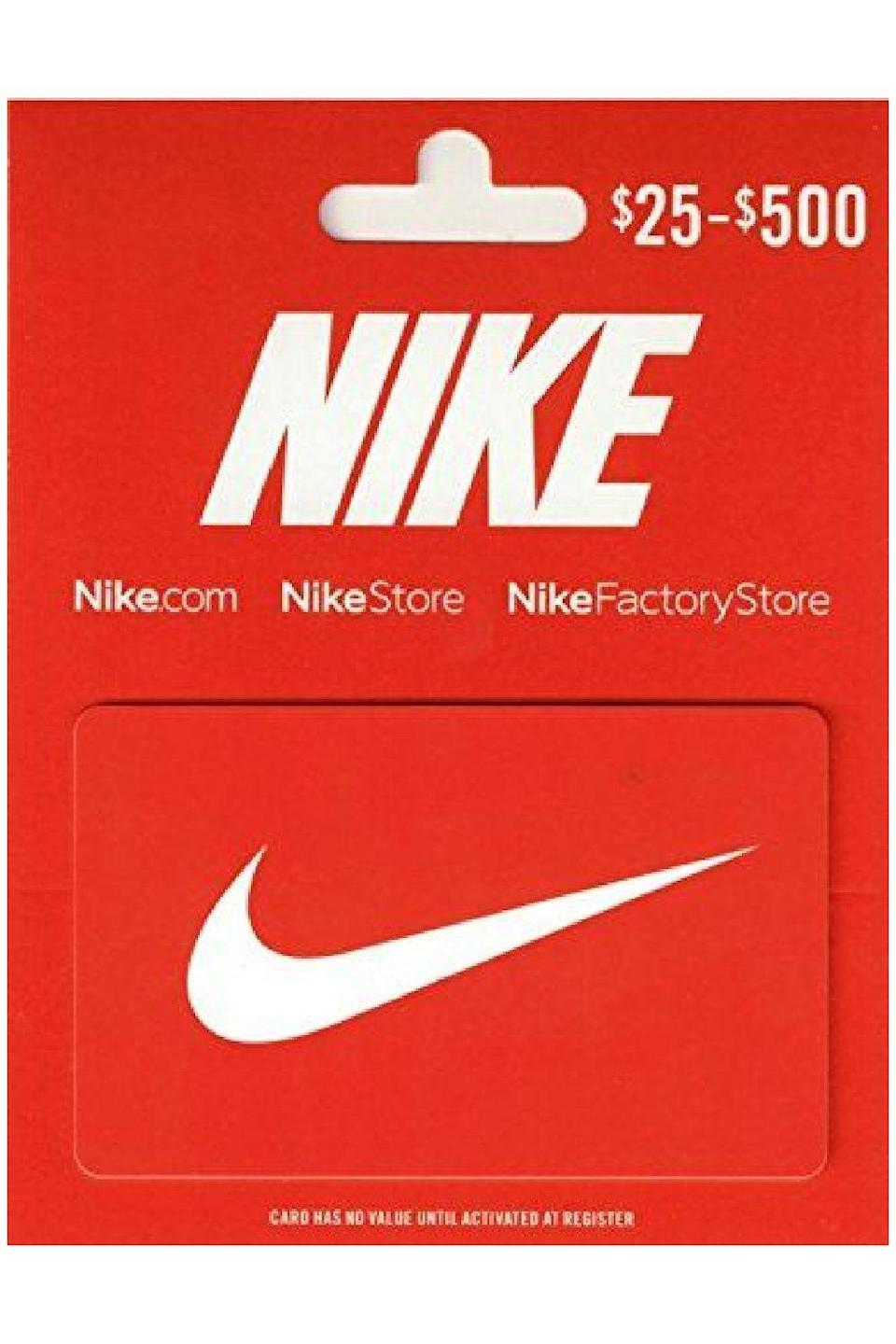 """<p><strong>Nike</strong></p><p>amazon.com</p><p><a href=""""https://www.amazon.com/dp/B01MF5AIWK?tag=syn-yahoo-20&ascsubtag=%5Bartid%7C10049.g.34229001%5Bsrc%7Cyahoo-us"""" rel=""""nofollow noopener"""" target=""""_blank"""" data-ylk=""""slk:Shop Now"""" class=""""link rapid-noclick-resp"""">Shop Now</a></p><p>I know I said you shouldn't grab a handful of the same gift card and give them to everyone on your list, but with a Nike gift card, you can actually do just that. Everyone from a new mom (have you seen baby Nikes? So. Cute.) to a <a href=""""https://www.cosmopolitan.com/style-beauty/fashion/g8292641/gifts-for-teen-boys/"""" rel=""""nofollow noopener"""" target=""""_blank"""" data-ylk=""""slk:teenage boy"""" class=""""link rapid-noclick-resp"""">teenage boy</a> could use one of these.</p>"""
