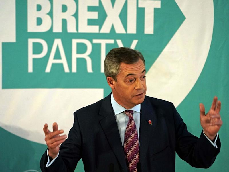 The Brexit Party leader speaking at the Best Western Grand Hotel in Hartlepool on Monday: PA