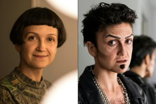 Actress Melodie Rousseau (L) uses make-up and wardrobe to transform into her drag king persona, Rock Biere (R)