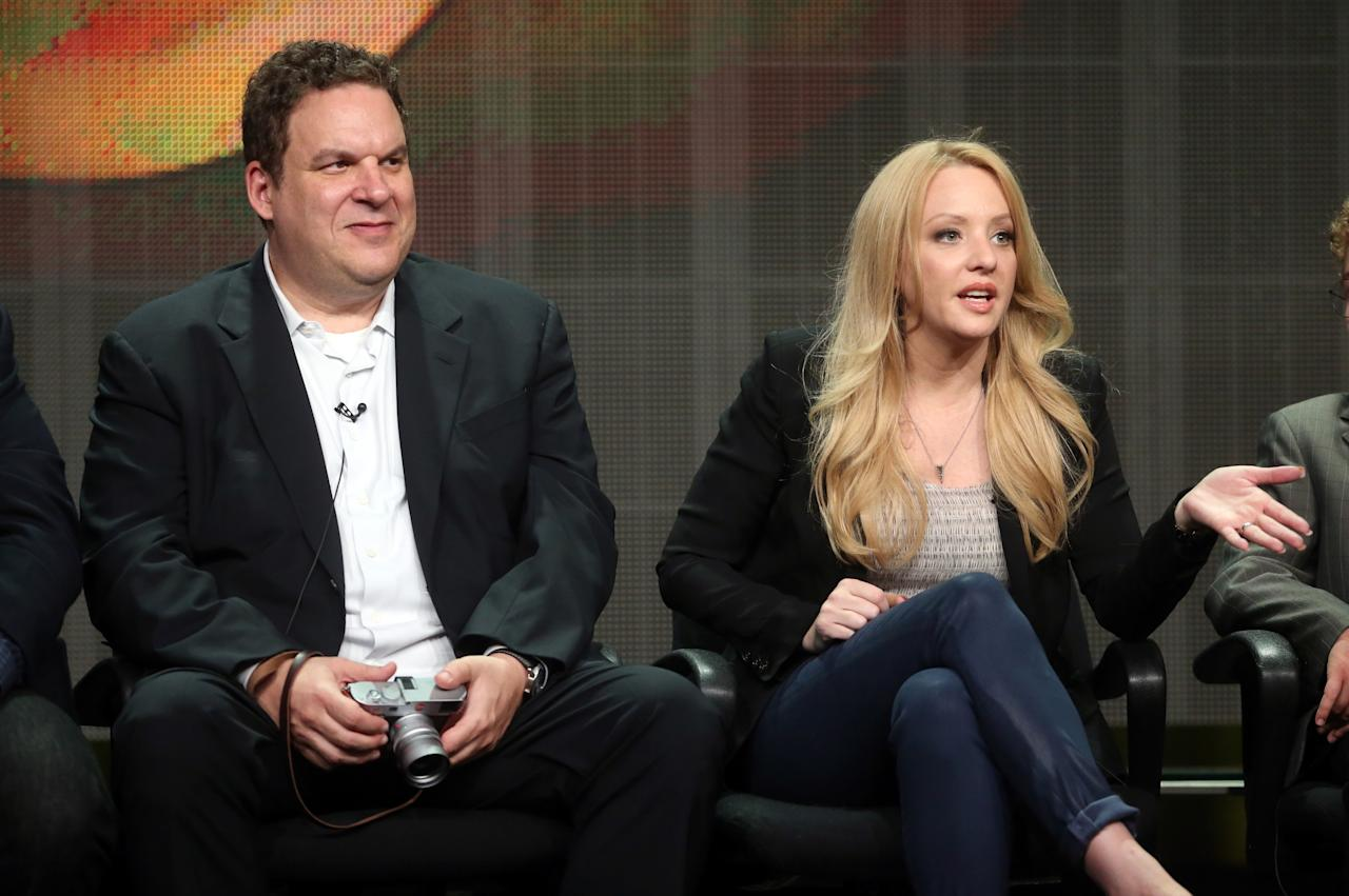"BEVERLY HILLS, CA - AUGUST 04: Actors Jeff Garlin (L) and Wendi McLendon-Covey speak onstage during the ""The Goldbergs"" panel discussion at the Disney/ABC Television Group portion of the Television Critics Association Summer Press Tour at the Beverly Hilton Hotel on August 4, 2013 in Beverly Hills, California. (Photo by Frederick M. Brown/Getty Images)"