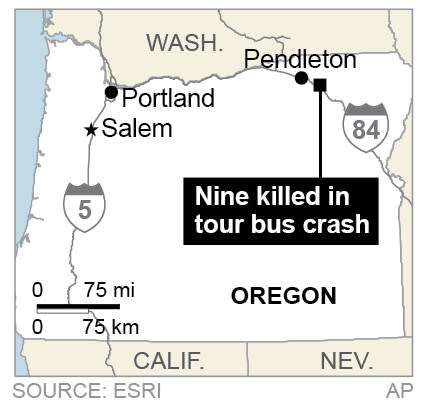 Map locates Vancouver-bound tour bus that crashed in Oregon, killing nine people.