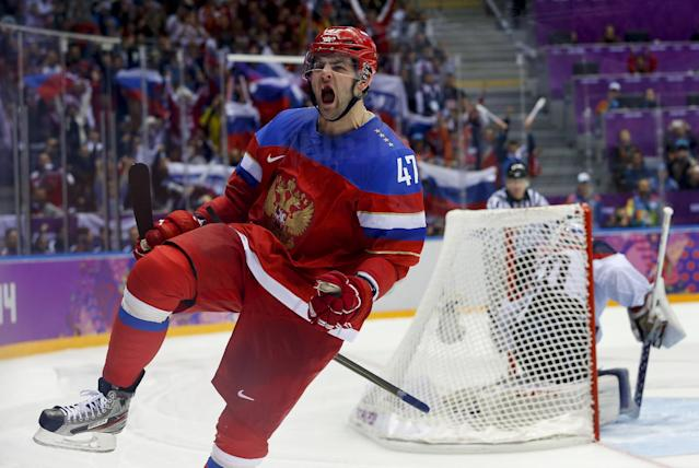 Russia forward Alexander Radulov reacts after scoring a goal in a shootout against Slovakia goaltender Jan Laco during overtime of a men's ice hockey game at the 2014 Winter Olympics, Sunday, Feb. 16, 2014, in Sochi, Russia. Russia won 1-0. (AP Photo/Mark Humphrey)