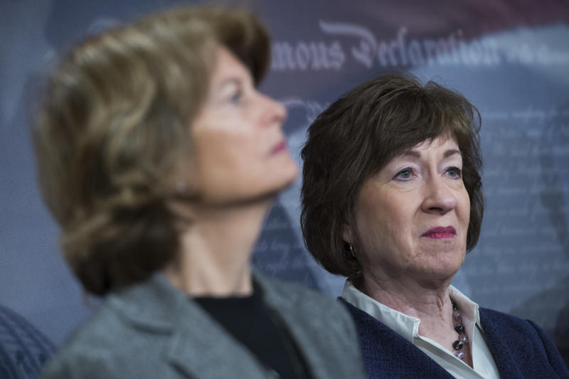 Sens. Lisa Murkowksi (left) and Susan Collins (right) are two Republican senators that many people believe may not support the new Supreme Court nominee. (Tom Williams/CQ Roll Call via Getty Images)