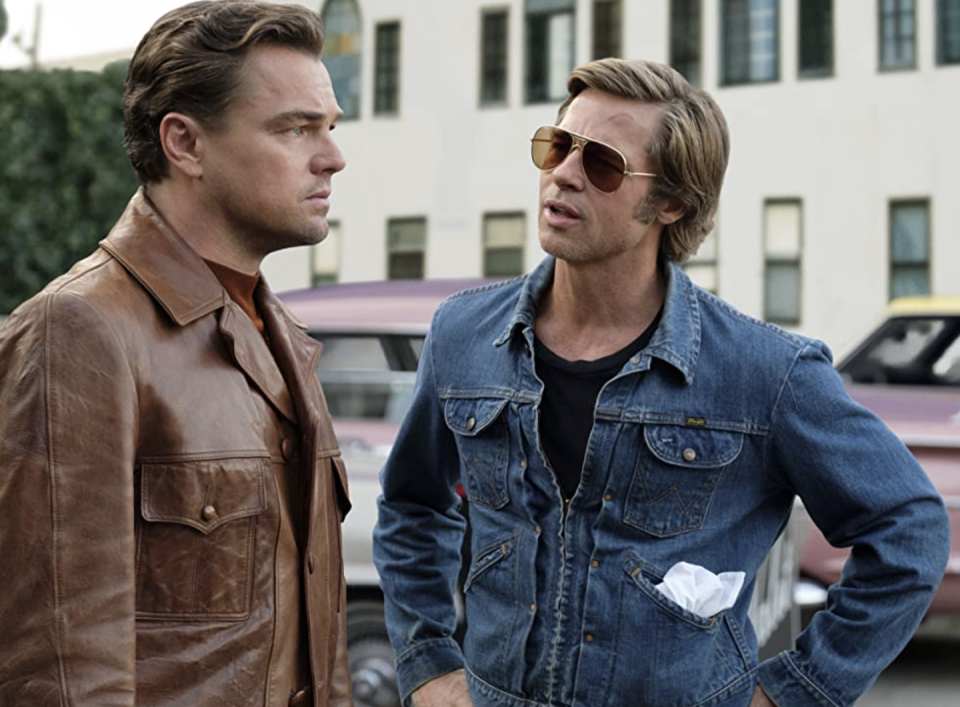 <p>Once upon a time, Brad Pitt rocked denim while acting alongside Leo DiCaprio. While the movie was packed with stars as far as the eye can see, it was their retro looks that really stole the show. </p>