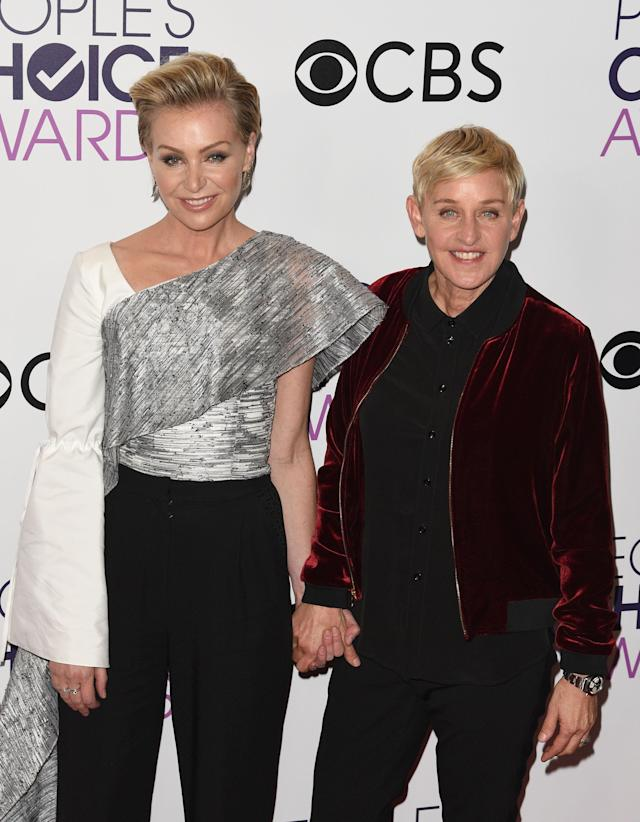 Ellen DeGeneres and Portia de Rossi, pictured at the People's Choice Awards 2017, have been a couple for 13 years. (Photo: C. Flanigan/Getty Images)