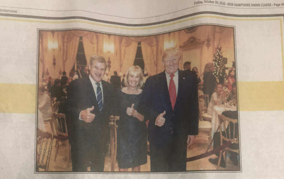 NHL and Boston Bruins icon Bobby Orr took out a full-page ad in Friday's New Hampshire Union Leader endorsing Donald Trump in the upcoming U.S. election. (Twitter/Union Leader)