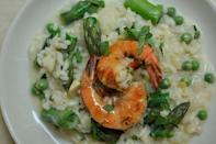 """<div class=""""caption-credit""""> Photo by: Sarah Shatz</div><div class=""""caption-title"""">Preserved Lemon and Spring Vegetable Risotto</div>We'll never turn down a spring risotto that's flush with asparagus and peas, but we've come to expect a rich and buttery dish that tamps down the seasonal embellishments. Not so here. - Amanda & Merrill <br> <i><b><a rel=""""nofollow noopener"""" href=""""http://food52.com/recipes/3673_preserved_lemon_and_spring_vegetable_risotto_with_grilled_pernod_shrimp"""" target=""""_blank"""" data-ylk=""""slk:Get the recipe"""" class=""""link rapid-noclick-resp"""">Get the recipe</a></b>.</i>"""