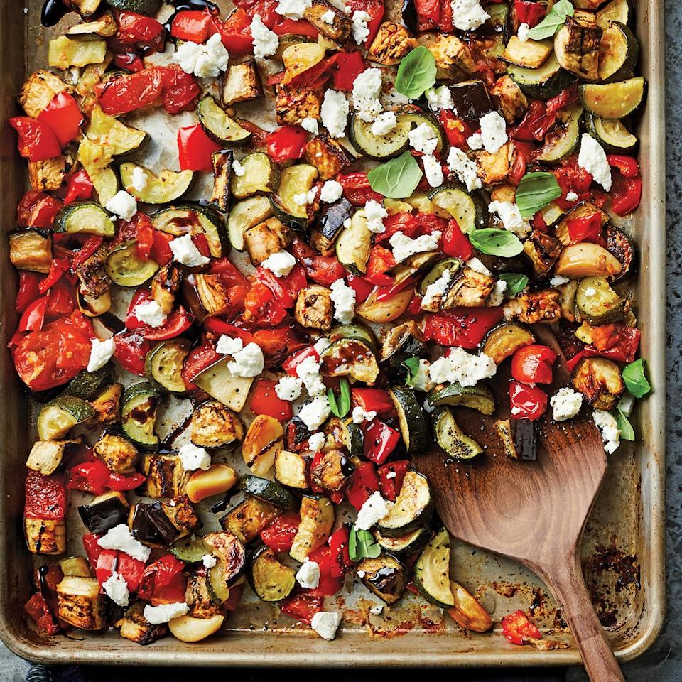 <p>Ratatouille is a type of veggie-forward, Provençal-style stew. Our sheet-pan ratatouille features tangy goat cheese and sweet balsamic glaze that complement the tender charred vegetables. Bake the tomatoes on a separate pan so that the steam from the tomatoes won't steam the other vegetables.</p>