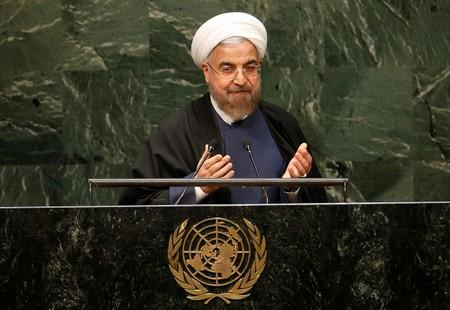 FILE PHOTO: Iranian President Rouhani gestures at the conclusion of his address to the 69th UN General Assembly at the UN Headquarters in New York