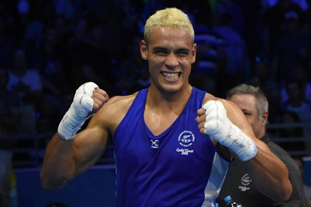David Nyika won his second Commonwealth Games boxing gold. (AFP Photo/Anthony WALLACE )