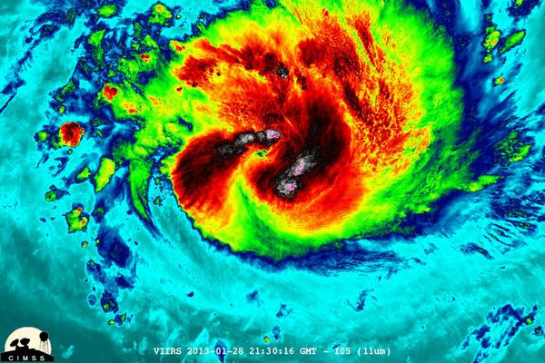 NASA-NOAA's Suomi NPP satellite captured this false-colored night-time image of Cyclone Felleng during the night on Jan. 28, 2013. Felleng is northwest of Madagascar. The image revealed some pretty cold overshooting tops and some interesting gr