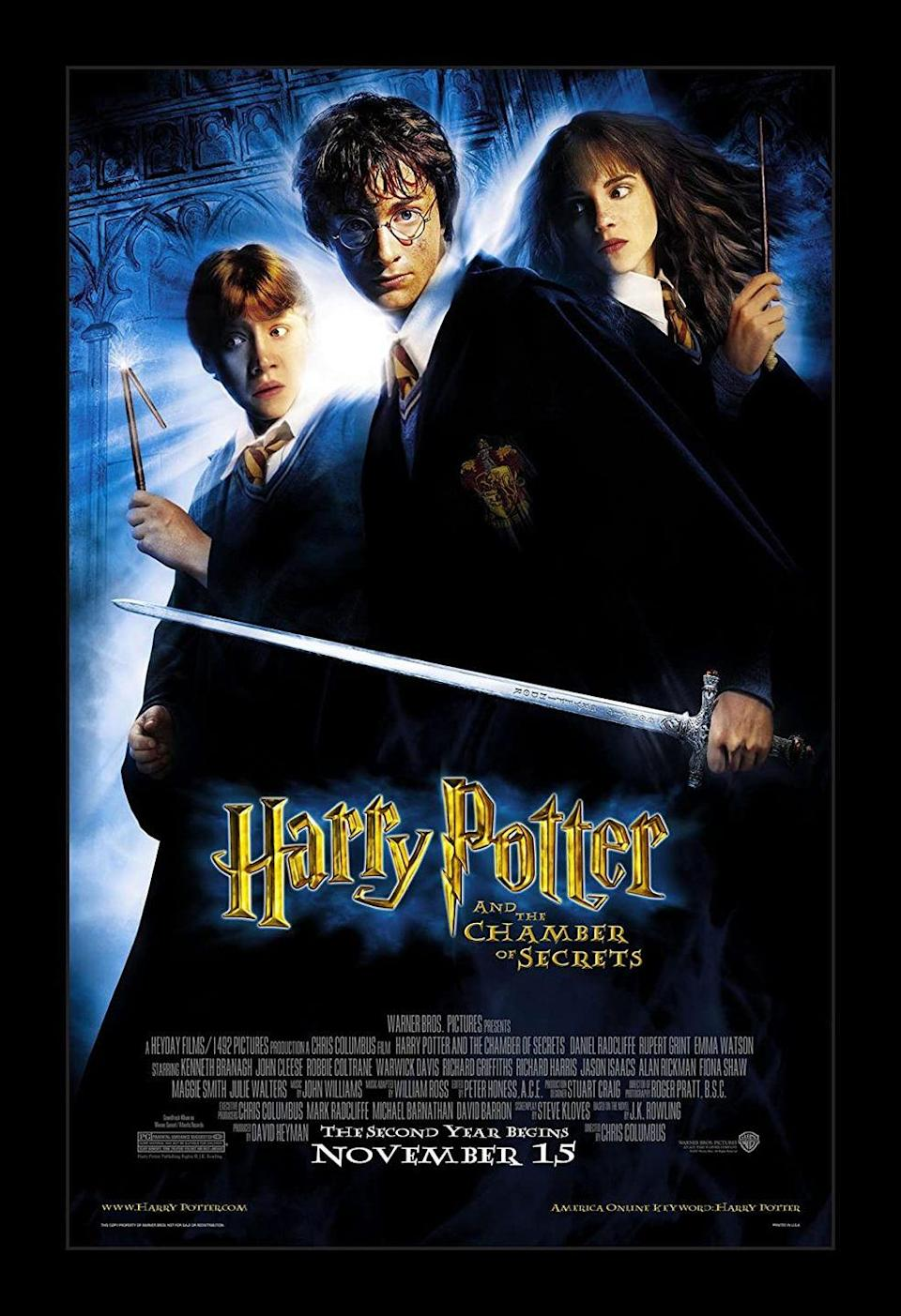 "<p>In year two at Hogwarts, Harry is faced with just as many challenges as the first. After flying (and wrecking) a magical car on his way to Hogwarts and a strange visit from Dobby the House Elf, he realizes that something is not right. Soon the rest of the school realizes it too when students are showing up petrified and a strange message appears on the wall that reads, ""The Chamber of Secrets has been opened. Enemies of the heir beware.""</p><p><a class=""link rapid-noclick-resp"" href=""https://www.amazon.com/gp/video/detail/B00BUBLNCM/ref=atv_dp_b00_det_c_UTPsmN_1_1?tag=syn-yahoo-20&ascsubtag=%5Bartid%7C10055.g.33625559%5Bsrc%7Cyahoo-us"" rel=""nofollow noopener"" target=""_blank"" data-ylk=""slk:WATCH NOW"">WATCH NOW</a></p>"