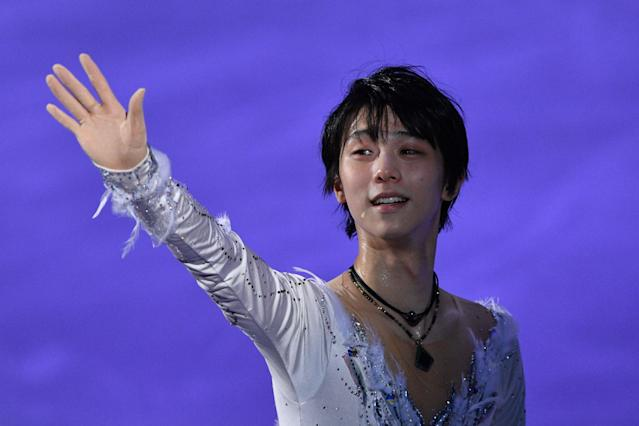 <p>Japan's Yuzuru Hanyu waves to the audience at the finale during the figure skating gala event during the Pyeongchang 2018 Winter Olympic Games at the Gangneung Oval in Gangneung on February 25, 2018. / AFP PHOTO / Mladen ANTONOV (Photo credit should read MLADEN ANTONOV/AFP/Getty Images) </p>
