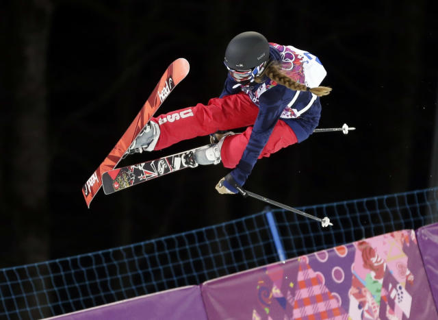 Maddie Bowman of the United States gets air during women's ski halfpipe qualifying at the Rosa Khutor Extreme Park, at the 2014 Winter Olympics, Thursday, Feb. 20, 2014, in Krasnaya Polyana, Russia. (AP Photo/Andy Wong)