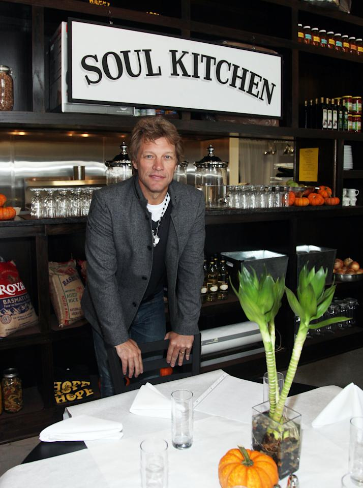 RED BANK, NJ - OCTOBER 19:  Musician and community activist Jon Bon Jovi at the grand opening celebration of The Soul Kitchen on October 19, 2011 in Red Bank, New Jersey.  (Photo by John W. Ferguson/Getty Images)
