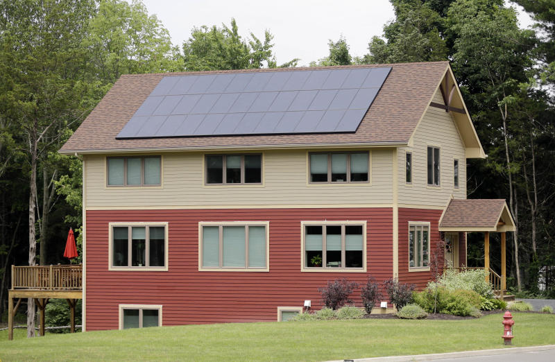 A zero net energy home is seen on Tuesday, July 9, 2013, in New Paltz, N.Y. (AP Photo/Mike Groll)