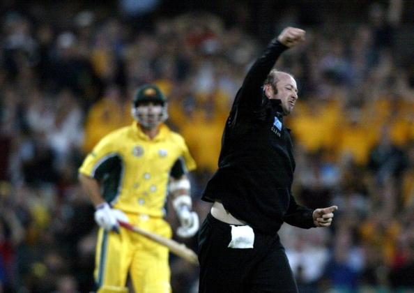 17 Jan 2002: Chris Harris of New Zealand celebrates the wicket of Shane Warne of Australia  during the VB Series match between Australia and New Zealand being played at the Sydney Cricket Ground ,Sydney ,Australia.DIGITAL IMAGE. Mandatory Credit: Nick Wilson/Getty Images