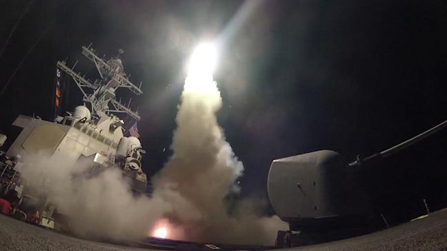 U.S. Navy guided-missile destroyer USS Porter (DDG 78) conducts strike operations while in the Mediterranean Sea which U.S. Defense Department said was a part of cruise missile strike against Syria on April 7, 2017.