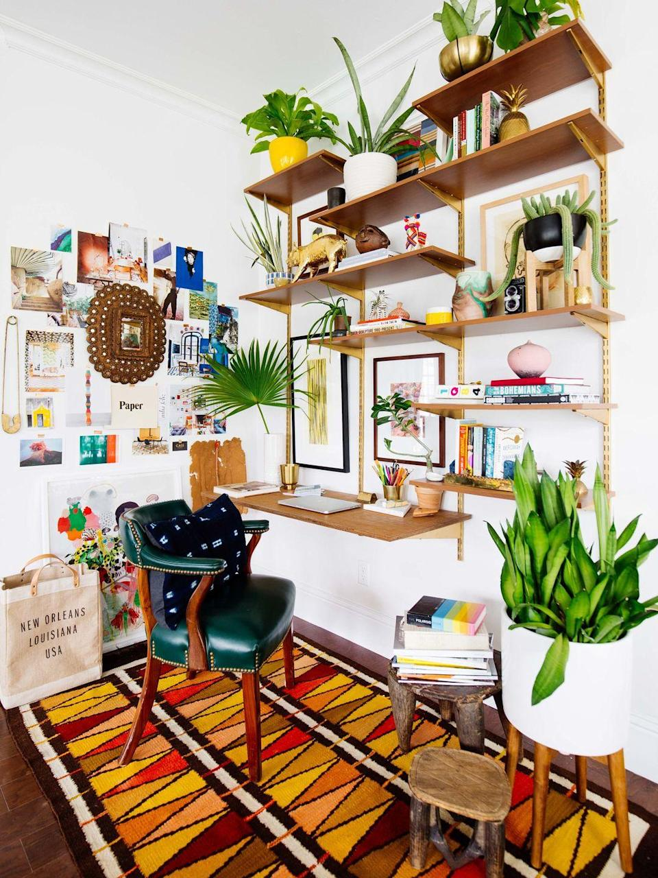 """<p>Embrace your inner free spirit and decorate your office with <a href=""""https://www.housebeautiful.com/design-inspiration/a23748087/what-is-bohemian-design-style/"""" rel=""""nofollow noopener"""" target=""""_blank"""" data-ylk=""""slk:anything that tells a story"""" class=""""link rapid-noclick-resp"""">anything that tells a story</a>, has sentimental value to you, or that you picked up on your travels. Add in a bold, patterned rug, color on color, and some plants. Consider yourself creative? More is more in that case. </p><p>See more at <a href=""""http://www.oldbrandnew.com/blog/2017/12/my-crazy-colorful-new-orleans-home-tour"""" rel=""""nofollow noopener"""" target=""""_blank"""" data-ylk=""""slk:Old Brand New"""" class=""""link rapid-noclick-resp"""">Old Brand New</a>. </p>"""