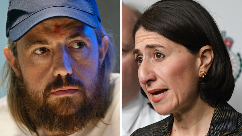A split image of Atlassian CEO and Mike Cannon-Brookes and NSW Premier Gladys Berejiklian.