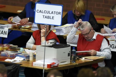 Tellers count ballots in the Northern Ireland assembly elections, in Ballymena