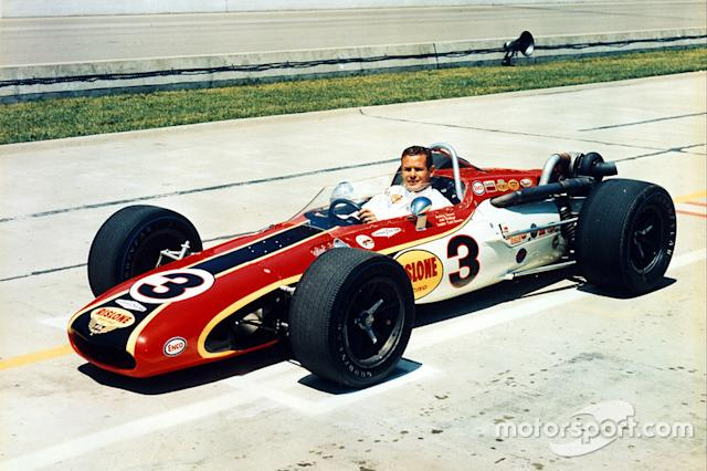 "Bobby Unser in his 1968 Indy 500 winning Eagle. <span class=""copyright"">Indianapolis Motor Speedway</span>"