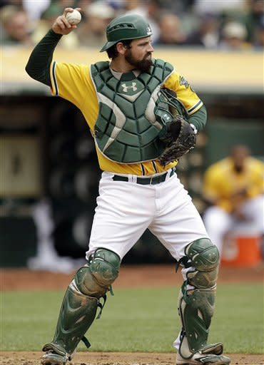 Oakland Athletics catcher Derek Norris throws the ball back to pitcher Travis Blackley during the fourth inning of a baseball game against the Los Angeles Dodgers, Thursday, June 21, 2012, in Oakland, Calif. Norris was recalled from Triple-A Sacramento on Thursday in time to start the series finale against the Dodgers. (AP Photo/Ben Margot)