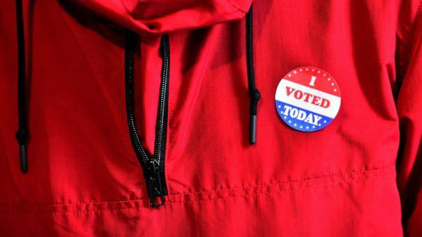 PHOTO: A voter wears an 'I VOTED TODAY' sticker after casting his ballot at the Philadelphia City Hall satellite polling station, Oct. 27, 2020, in Philadelphia. (Mark Makela/Getty Images)