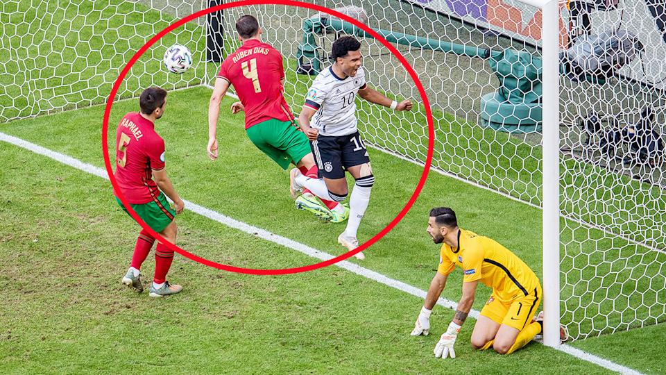 Serge Gnabry, pictured here celebrating after an own goal from Raphael Guerreiro.