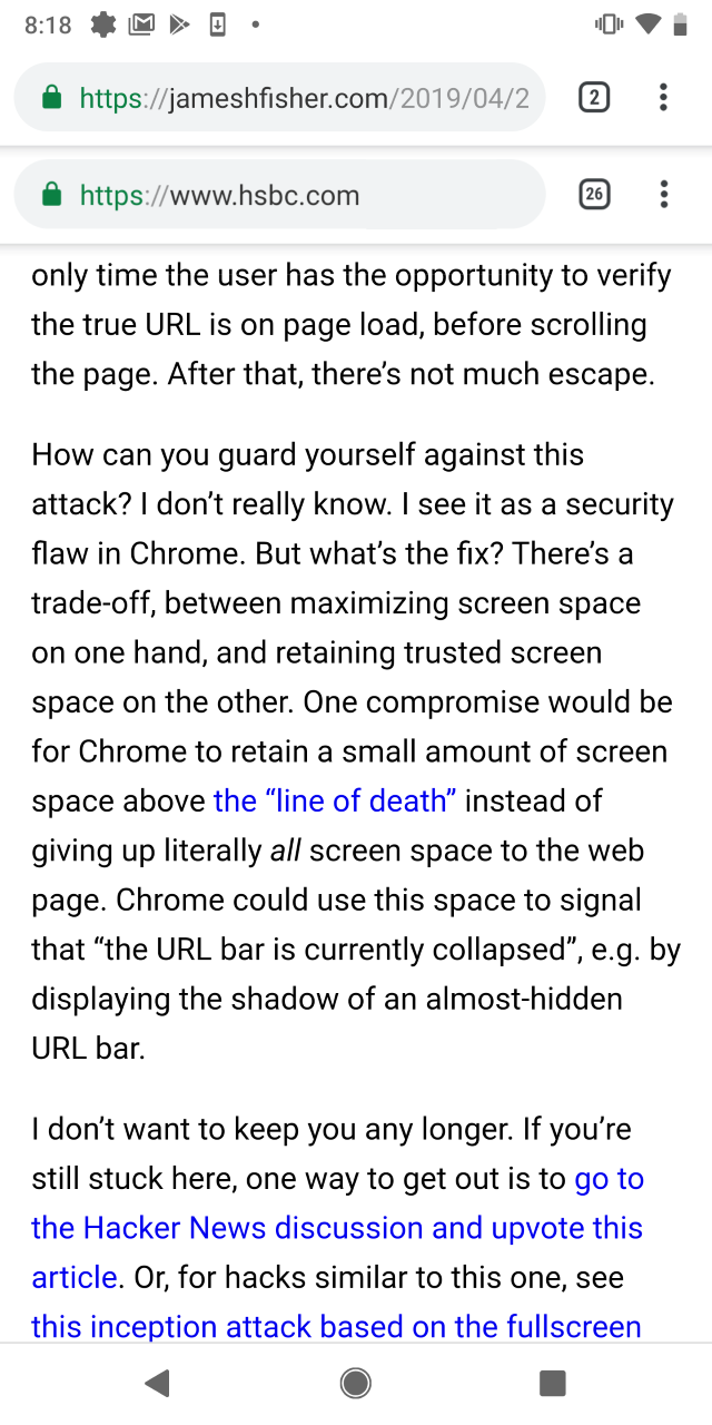 This is what the double address bars looks like on Chrome for Android.