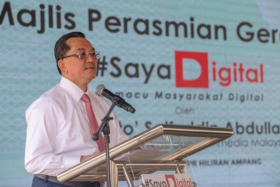 Communications and Multimedia Ministry secretary-general Datuk Seri Mohammad Mentek delivers a speech at the launch of the #SayaDigital movement in Kuala Lumpur April 12, 2021. — Picture by Firdaus Latif