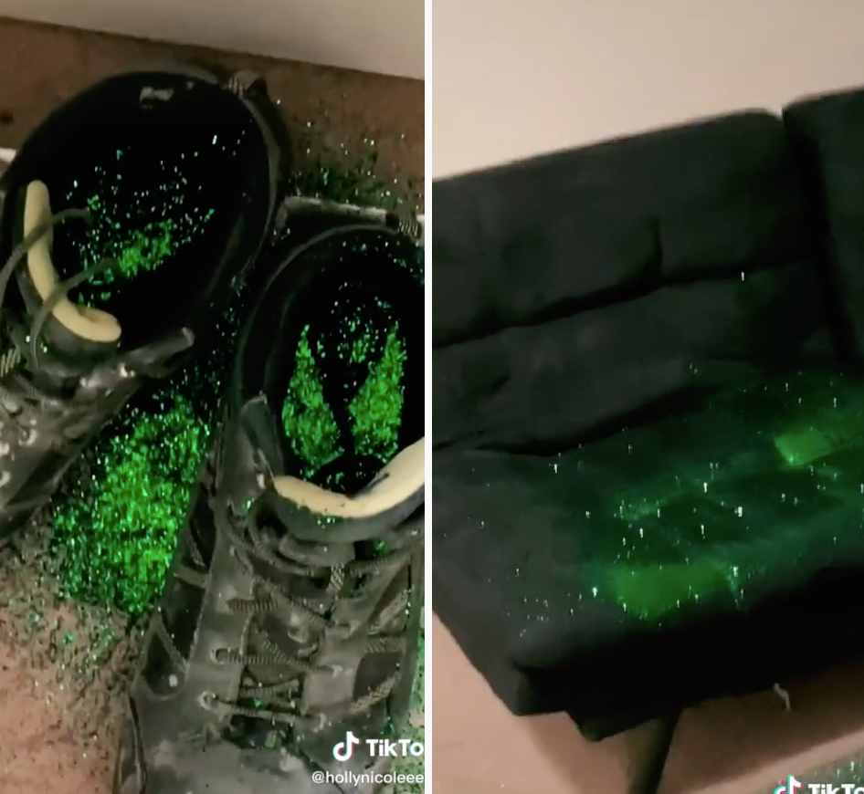 Cheating ex glitter bomb revenge images shoes and couch covered in green glitter
