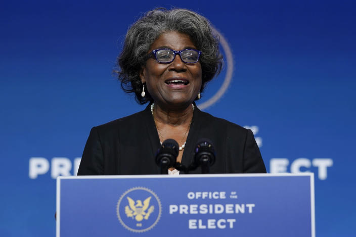 President-elect Joe Biden's U.S. Ambassador to the United Nations nominee Ambassador Linda Thomas-Greenfield speaks at The Queen theater, Tuesday, Nov. 24, 2020, in Wilmington, Del. (AP Photo/Carolyn Kaster)