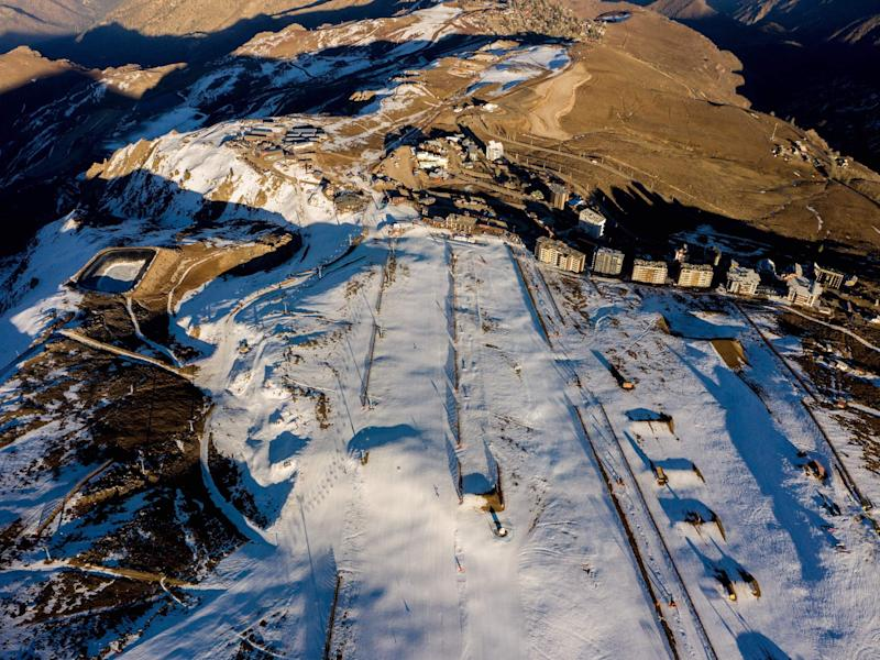 Aerial view of El Colorado skiing centre, in the Andes Mountains