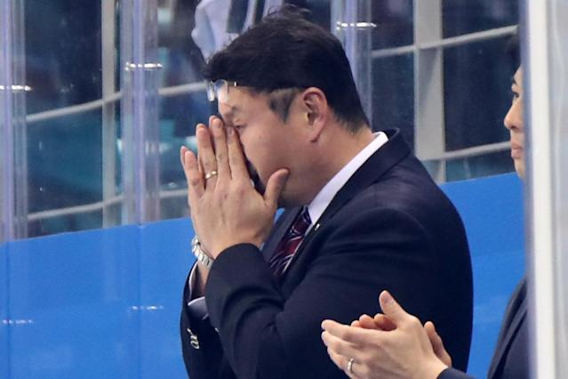 <p>Head coach of Republic of Korea Chisun Paek reacts after losing 5-2 to Finland in the Men's Play-offs Qualifications game on day eleven of the PyeongChang 2018 Winter Olympic Games at Gangneung Hockey Centre on February 20, 2018 in Gangneung, South Korea. (Photo by Bruce Bennett/Getty Images) </p>