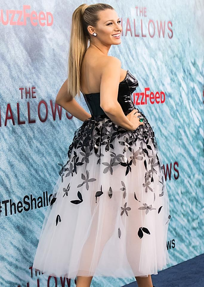 <p><span>Lively wore a Carolina Herrera black and white strapless gown featuring a leather bodice and a sheer skirt with floral embellishment.</span></p>