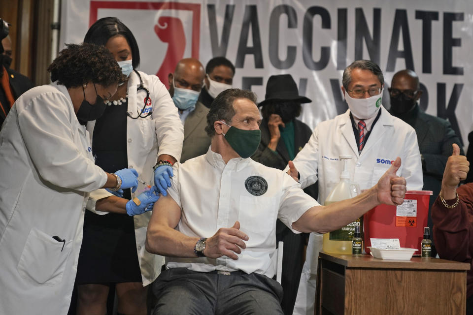 New York Governor Andrew Cuomo gets vaccinated at a church in the Harlem section of New York, Wednesday, March 17, 2021. (AP Photo/Seth Wenig, Pool)