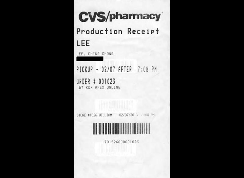 """This photo provided by Susan Lask, attorney for Hyun Lee, shows a claim check Lee says she received from the photo department of a CVS pharmacy in Egg Harbor City, N.J., on Feb. 7, 2013. When Lee picked up her photos she noticed an employee had identified her with the derogatory phrase """"Ching Chong Lee"""" on the ticket. Lask says Lee filed a discrimination lawsuit against CVS in federal court, seeking $1 million, on April 16, 2013. (AP Photo/Courtesy of Susan Lask)"""