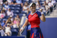 Bianca Andreescu, of Canada, reacts after defeating Greet Minnen, of Belgium, during the third round of the US Open tennis championships, Saturday, Sept. 4, 2021, in New York. (AP Photo/Seth Wenig)