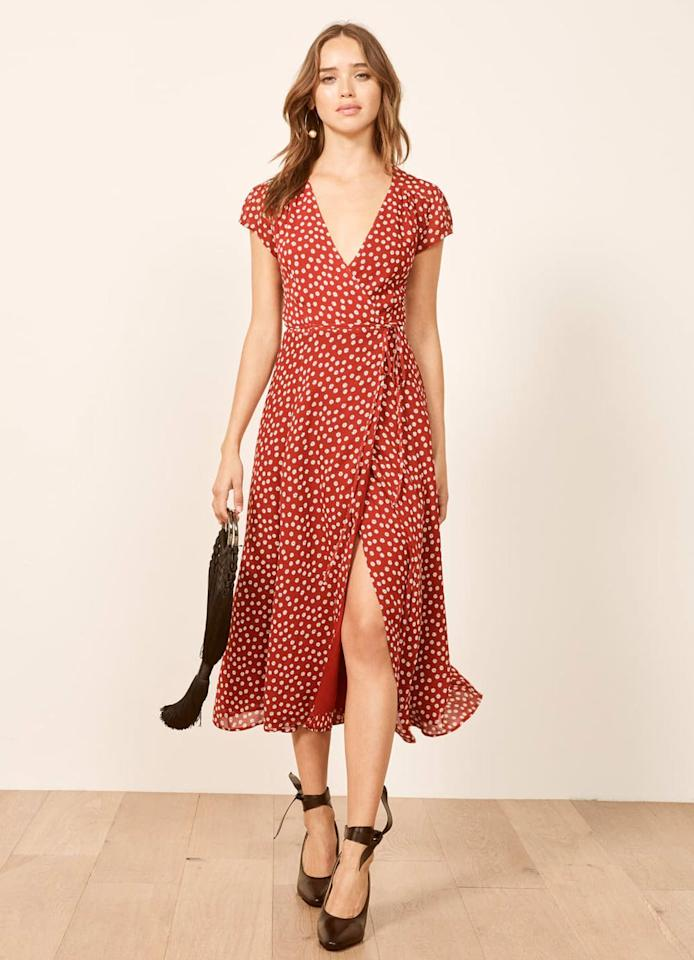 "Full-coverage, printed midis have emerged as the dress trend to beat in recent months, and it's the perfect garment to transition from winter to spring, from work to play, and beyond. $218, Reformation. <a rel=""nofollow"" href=""https://www.thereformation.com/products/petites-carina-dress?color=Vicente&gclid=Cj0KCQjwj9LkBRDnARIsAGQ-hUcZ4S85fpWBDR45x59vfat7AclQDlZ30Zund0B7ObiJmOhu1uylE4kaAt7xEALw_wcB"">Get it now!</a>"