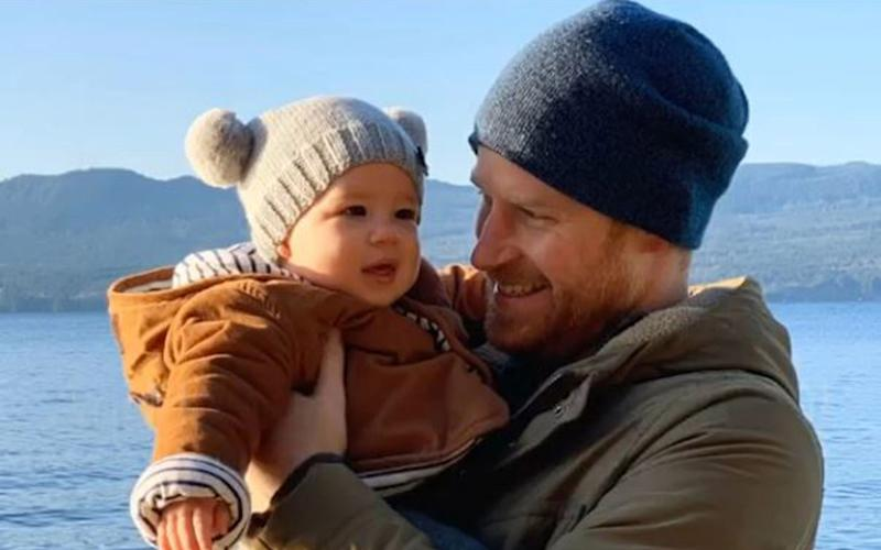 Prince Harry with his son, Archie - SussexRoyal