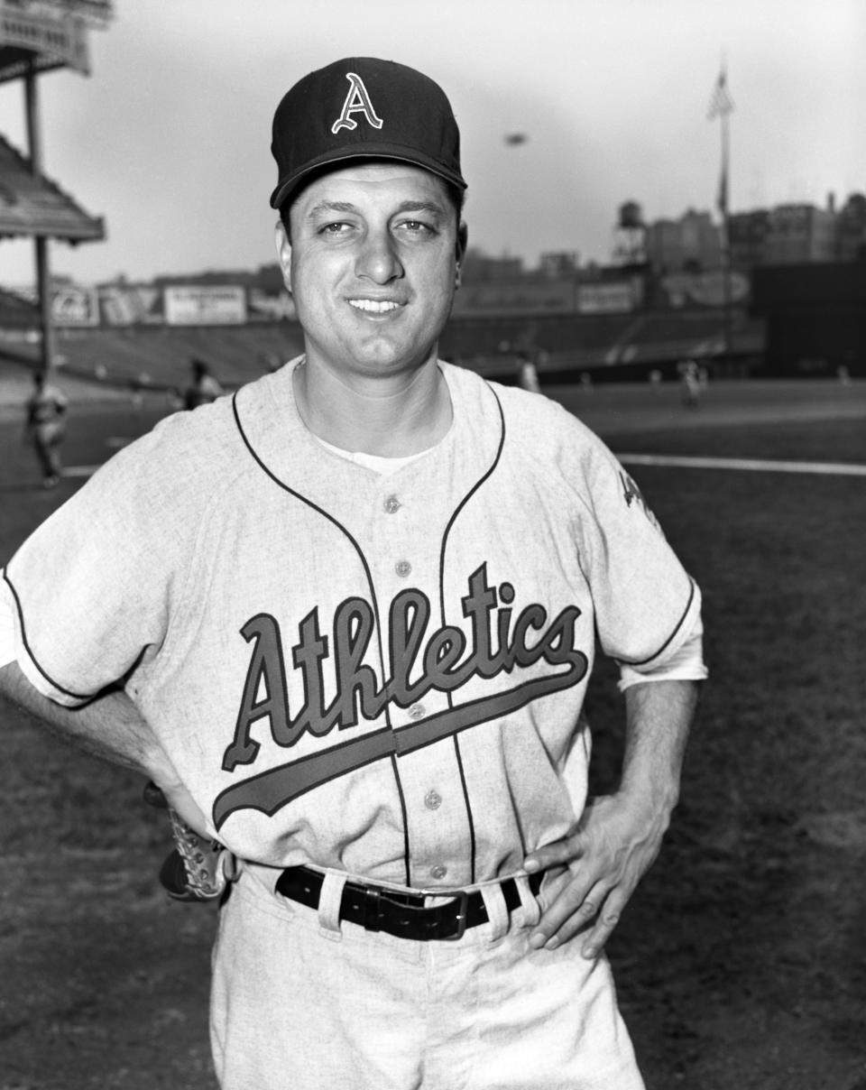 Pitcher Tommy Lasorda #23 of the Kansas City A's poses for a portrait prior to a game in 1956 against the New York Yankees at Yankee Stadium.