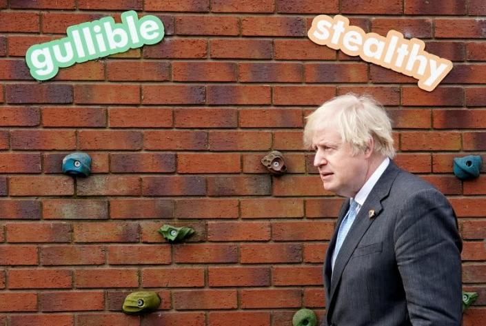 British PM Johnson visits a school in Stoke-On-Trent ahead of reopening