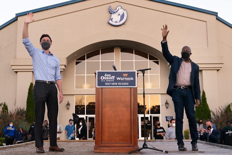 "<div class=""inline-image__caption""><p>Democratic U.S. Senate candidates Raphael Warnock (right) and Jon Ossoff (left) will face off with their Republican rivals in a heated January runoff that will determine which party controls the U.S. Senate. </p></div> <div class=""inline-image__credit"">Elijah Nouvelage/Getty Images</div>"