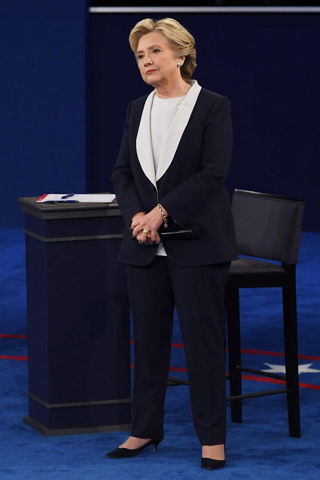 <p>In a navy blue and white Ralph Lauren suit at the second Presidential Debate in St. Louis, MO.</p>