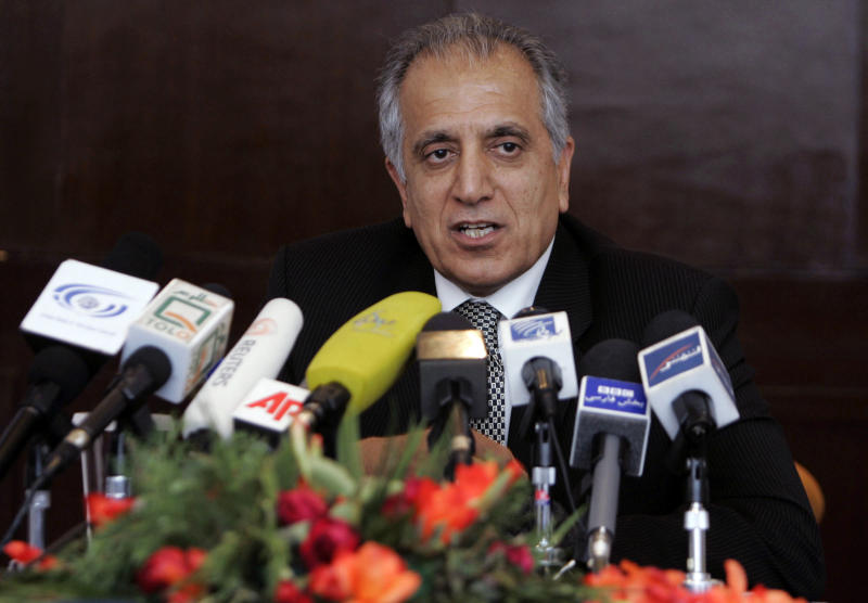 """FILE - In this March 13, 2009, file photo, Zalmay Khalilzad, special adviser on reconciliation speaks during a news conference in Kabul, Afghanistan. The Taliban say they are holding """"another"""" meeting on Monday, Dec. 17, 2018 with U.S. officials, this time in the United Arab Emirates and also involving Saudi, Pakistani and Emirati representatives in the latest attempt to bring a negotiated end to Afghanistan's 17-year war. (AP Photo/Rafiq Maqbool)"""